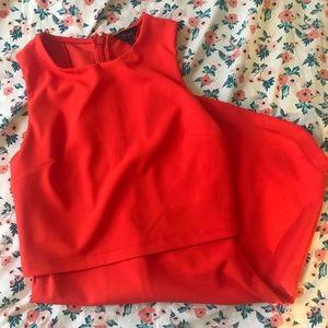 TOPSHOP Bright Red Orange Dress Body con size 2